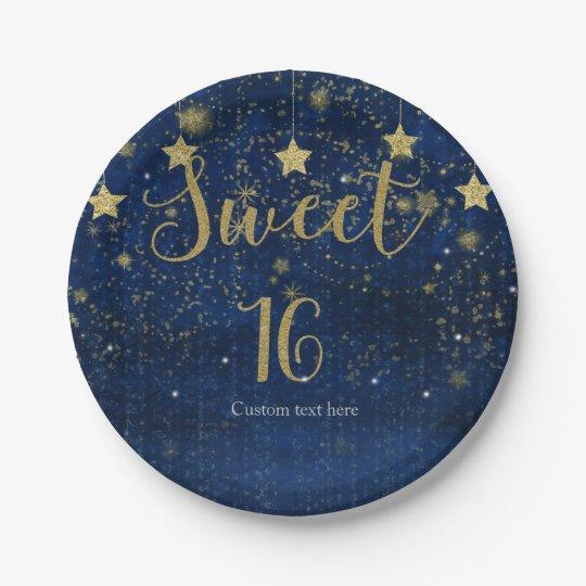 Fiesta estrellado brillante del dulce 16 del azul plato de papel