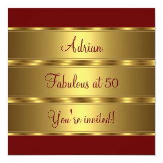 Fiesta fabulosa rojo oscuro y del oro 2 50.a de invitación 13,3 cm x 13,3cm