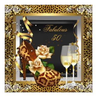 Fiesta fabuloso de 50 del oro del leopardo tacones invitación 13,3 cm x 13,3cm