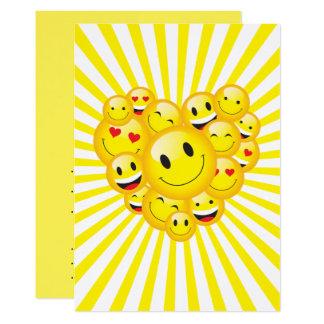 Fiesta feliz amarillo del delirio de las caras de invitación 12,7 x 17,8 cm