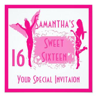 Fiesta femenino rosado del dulce dieciséis invitación 13,3 cm x 13,3cm