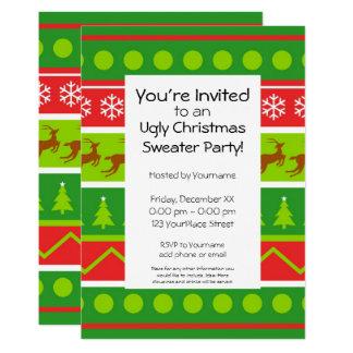 Fiesta feo del suéter del navidad invitación 12,7 x 17,8 cm