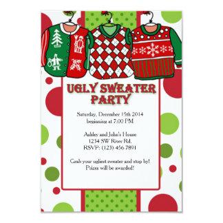 Fiesta feo del suéter del navidad invitación 8,9 x 12,7 cm
