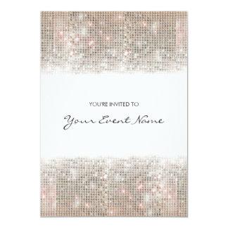 Fiesta festivo de las falsas lentejuelas de plata invitación 12,7 x 17,8 cm