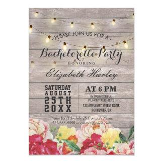 Fiesta floral de madera rústico ligero de invitación 12,7 x 17,8 cm
