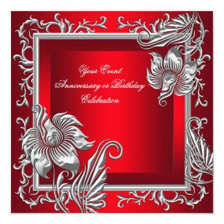 Fiesta floral de plata rojo real elegante invitación 13,3 cm x 13,3cm