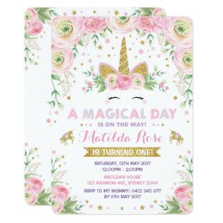 Fiesta floral del oro del rosa de la invitación