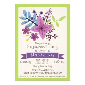 Fiesta floral púrpura del verde lima y violeta de invitación 12,7 x 17,8 cm