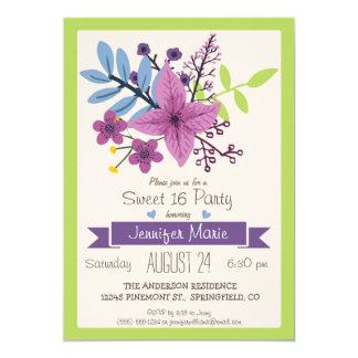Fiesta floral púrpura del verde lima y violeta del invitación 12,7 x 17,8 cm