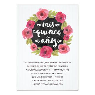 Fiesta floral rosado de los rosas el | Quinceanera Invitación 12,7 X 17,8 Cm