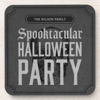 Fiesta gris de Spooktacular Halloween del cráneo Posavasos Para Bebidas