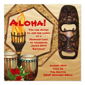 Fiesta hawaiano de Luau de la fiesta de cumpleaños Invitación 13,3 Cm X 13,3cm