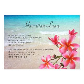 Fiesta hawaiano del Plumeria del océano de Luau Invitación 12,7 X 17,8 Cm