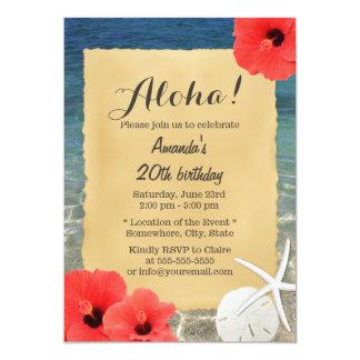 Fiesta hawaiano del tema de la playa de las flores invitación 12,7 x 17,8 cm
