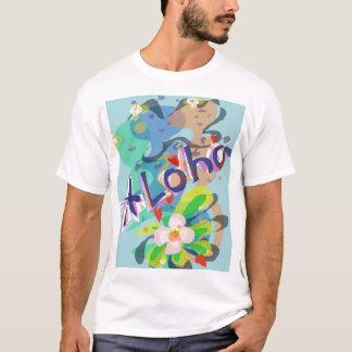 Fiesta hawaiano T de la flor de la hawaiana y del Camiseta