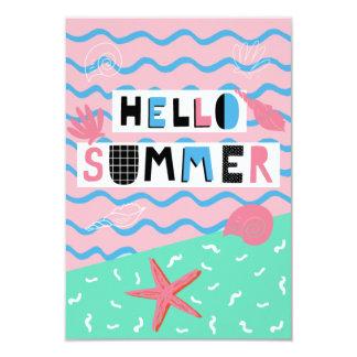 Fiesta ilustrado colorido Inivtation del verano de Invitación 8,9 X 12,7 Cm