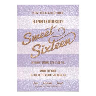 Fiesta intrépido púrpura del dulce dieciséis de invitacion personalizada