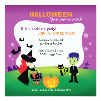 Fiesta lindo de Halloween de los niños con la Invitación 13,3 Cm X 13,3cm
