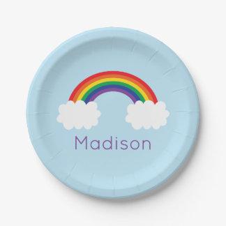 Fiesta lindo del arco iris plato de papel