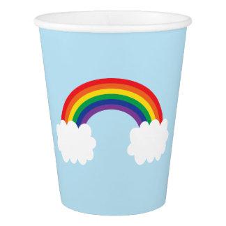 Fiesta lindo del arco iris vaso de papel