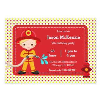 Fiesta lindo del bombero invitación 12,7 x 17,8 cm