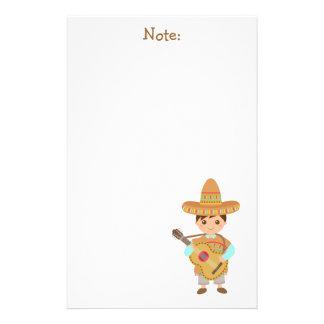 Fiesta mexicana de la guitarra del gorra del  papeleria de diseño