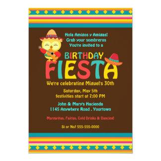 Fiesta mexicana del cumpleaños del búho invitación 12,7 x 17,8 cm