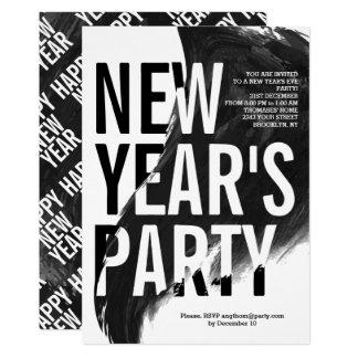 Fiesta negro, blanco de Noche Vieja de la acuarela Invitación 12,7 X 17,8 Cm