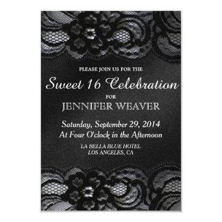 Fiesta negro de la celebración del dulce 16 del invitación 8,9 x 12,7 cm