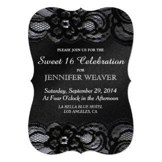 Fiesta negro de la celebración del dulce 16 del invitación 12,7 x 17,8 cm
