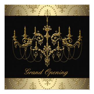 Fiesta negro de la gran inauguración del negocio invitación 13,3 cm x 13,3cm