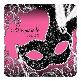 Fiesta negro de la mascarada de la máscara de las invitación 13,3 cm x 13,3cm