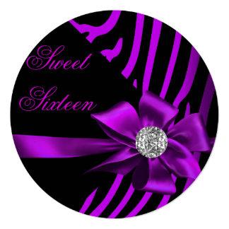 Fiesta negro de plata rosado púrpura de la cebra invitación 13,3 cm x 13,3cm