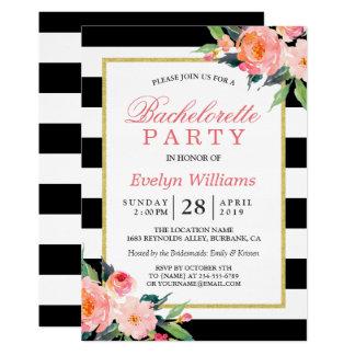 Fiesta negro floral de Bachelorette del oro de las Invitación 12,7 X 17,8 Cm