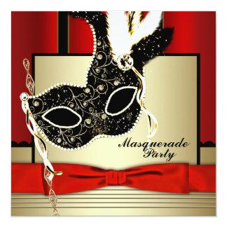 Fiesta negro rojo de la mascarada de la máscara invitación 13,3 cm x 13,3cm