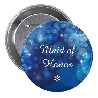 Fiesta nupcial del invierno azul de Bokeh del copo Chapa Redonda 7 Cm