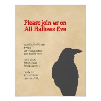 Fiesta oscuro de Halloween del pergamino del Invitación 10,8 X 13,9 Cm