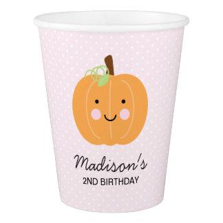 Fiesta personalizado calabaza rosada vaso de papel