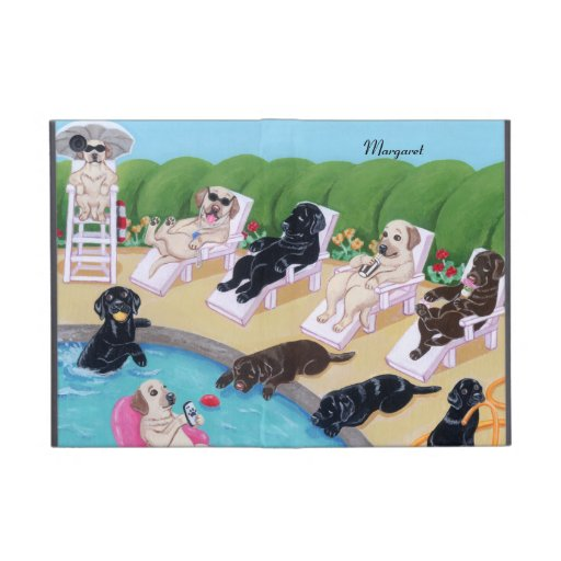 Fiesta personalizado Labradors del Poolside iPad Mini Carcasa