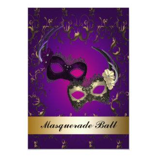 Fiesta púrpura de la mascarada de las máscaras del invitación 12,7 x 17,8 cm