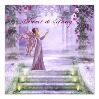 Fiesta púrpura del dulce 16 de la princesa rosa invitación 13,3 cm x 13,3cm