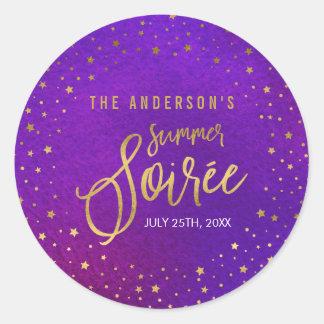 Fiesta púrpura estrellado del verano de la pegatina redonda