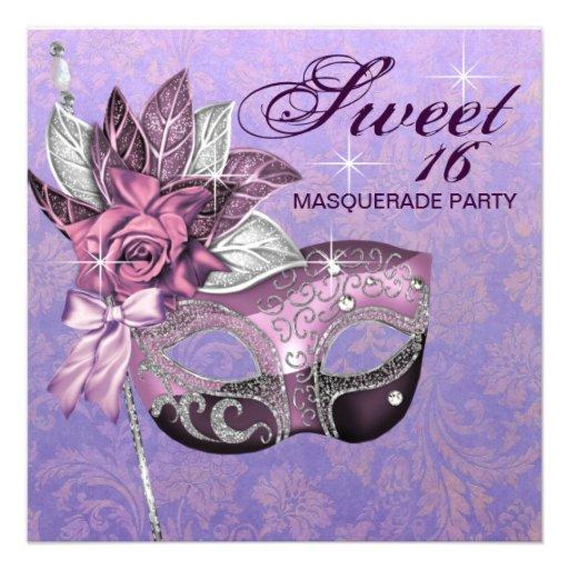 Fiesta púrpura rosado de la mascarada del dulce 16 invitaciones personalizada