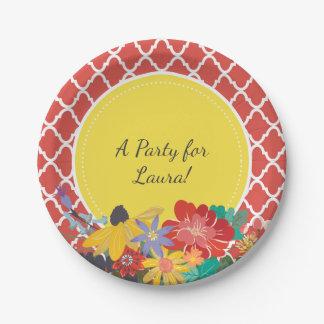 Fiesta Quatrefoil floral rojo del verano con Plato De Papel