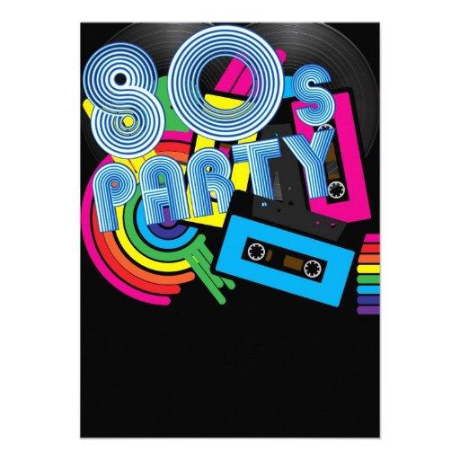 Fiesta retro 80 comunicados personalizados