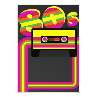 fiesta retro 80s invitación 12,7 x 17,8 cm
