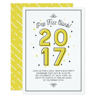 Fiesta retro amarillo de Noche Vieja de la Invitación 12,7 X 17,8 Cm