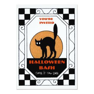 Fiesta retro de Halloween de la luna del gato Invitación 12,7 X 17,8 Cm