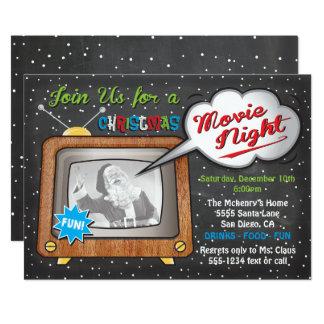 Fiesta retro de la noche de película del navidad invitación 12,7 x 17,8 cm