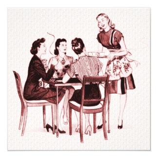 Fiesta retro de la tarjeta de los años 40 invitación 13,3 cm x 13,3cm